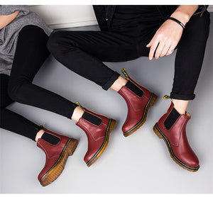 Autumn Winter Genuine Leather Ankle Chelsea Boots Men Shoes Vintage Classic Male High Quality Leather Ankle Boots Big Size 38-45