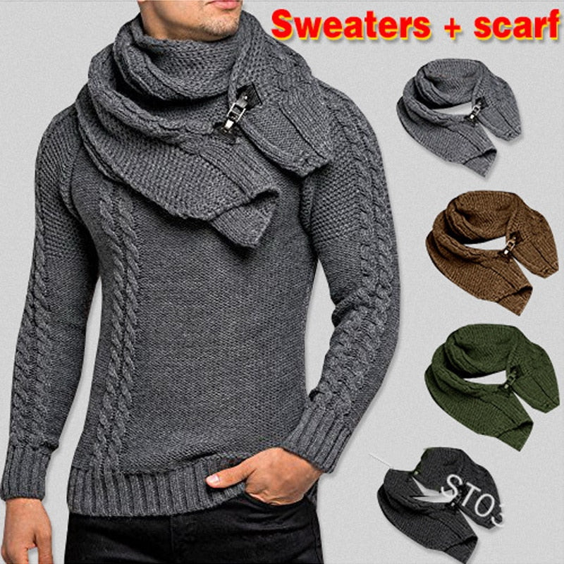 SWEATER+Gift Scarf Autumn Winter Men Long Sleeves Pullovers