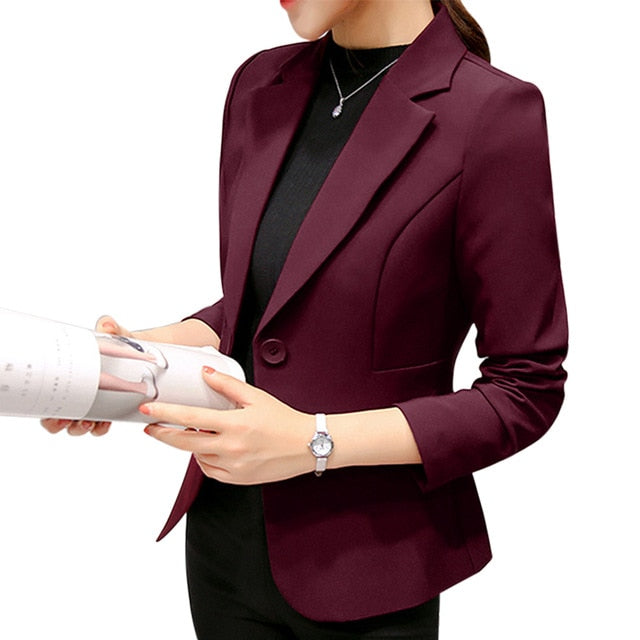 Women's Blazer Pink Long Sleeve Blazers Solid