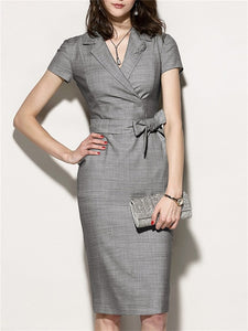 office party dress  White Collar Suit Dress