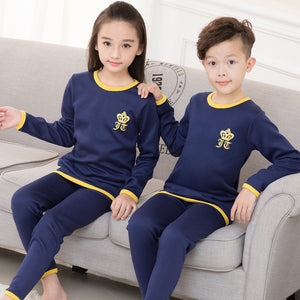 Winter Kids Thermal Underwear Solid Thick Cotton