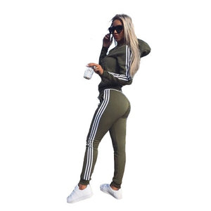 women's sports solid color jacket hooded pants two-piece suit
