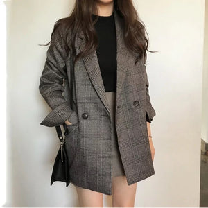 Women's check long sleeve cotton jacket
