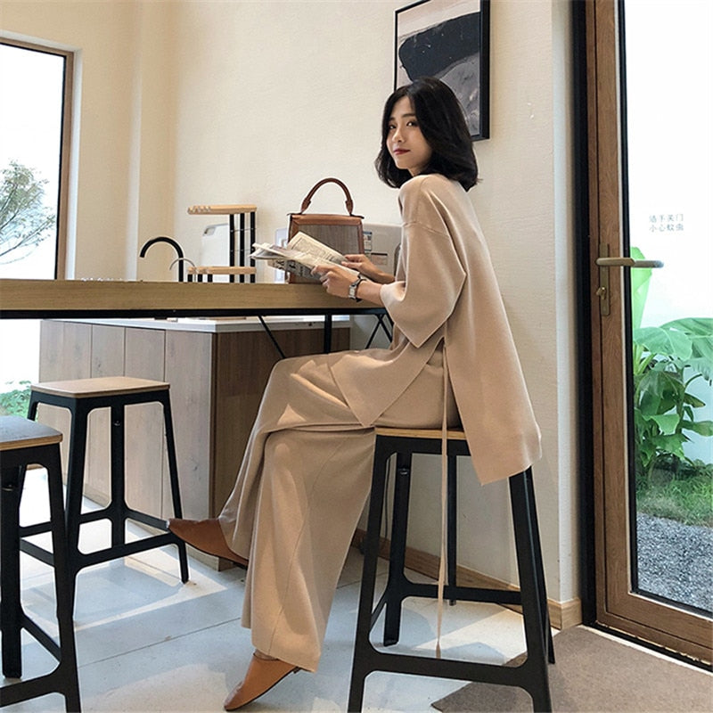 Knitting Female Sweater Pantsuit For Women