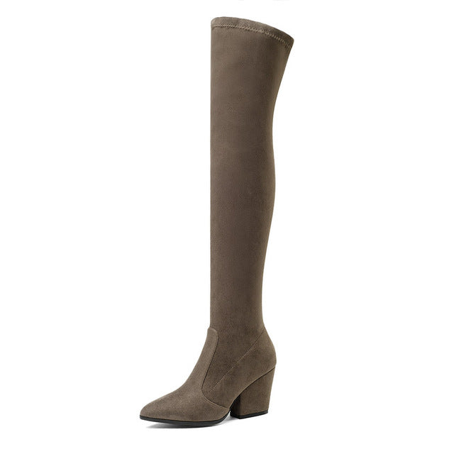 2020 Women Over The Knee High Boots Hoof Heels Winte