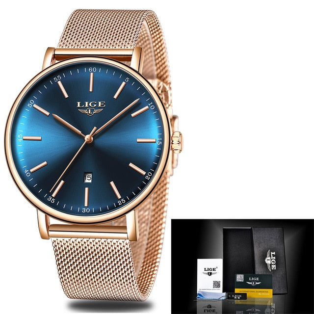 Gold Quartz Watch Women Stainless Steel Date Wear Gift Clock 2019