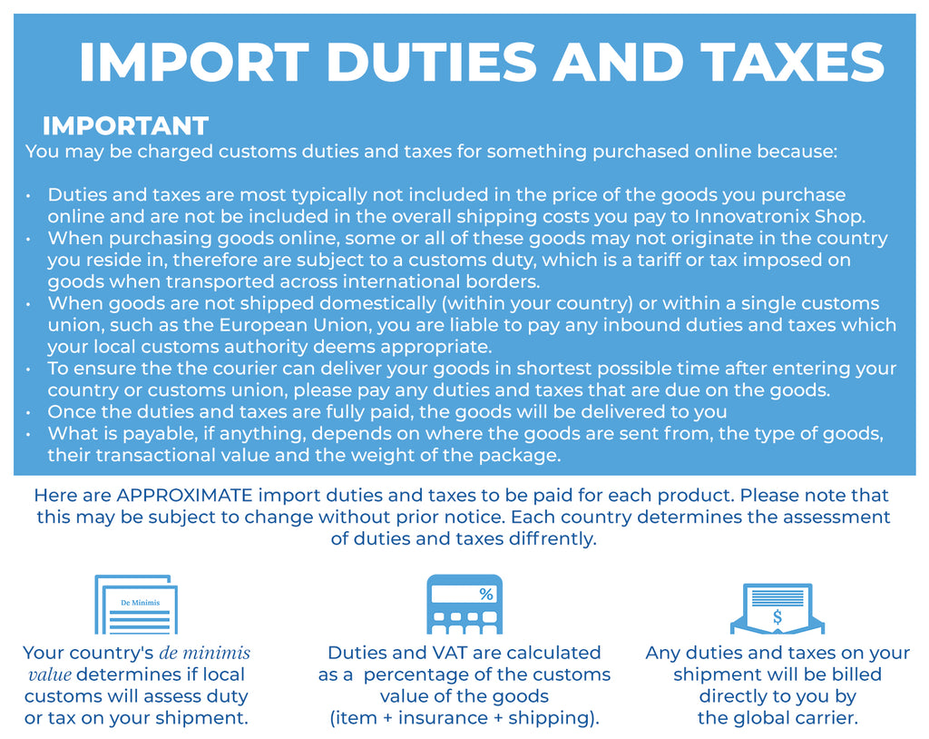 Import Duty and Tax SpeedFire II Notes