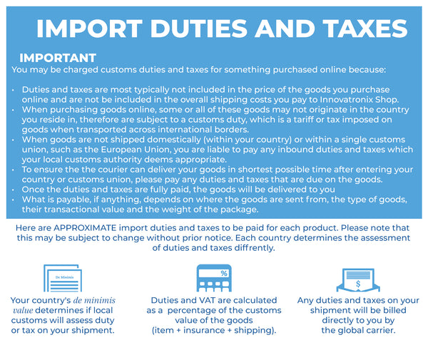 Innovatronix Import Duty and Tax Table