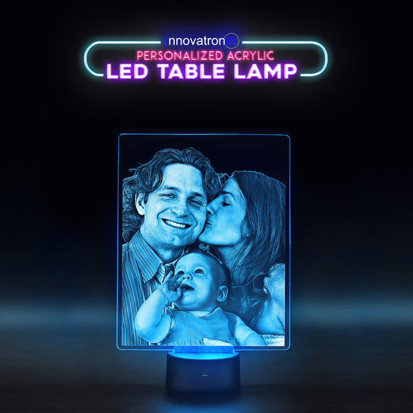 Innovatronix Personalized Acrylic Glass LED Table Night Lamp - Laser Engraved Acrylic Glass LED Table Night Lamp Giveaways , Souvenir , Birthday , Christmas Gifts (Patent Number : 2-2016-000506) - FREE SHIPPING !