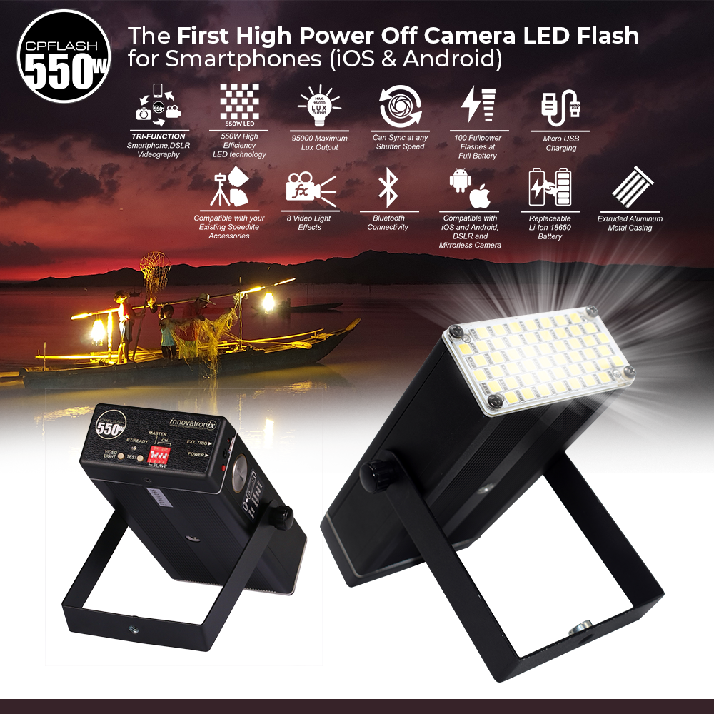 CPFlash 550W Off-Camera LED Smartphone Flash for iOS and Android (Patent Numbers : 2-2016-000506,  2-2016-000842,  2-2016-000505)