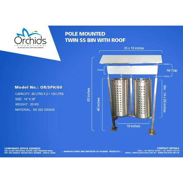 Pole Mounted Twin SS Bin with Roof