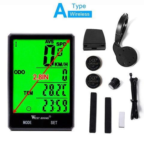 "Wireless Bicycle Odometer, 2.8 "" Large Screen Display"