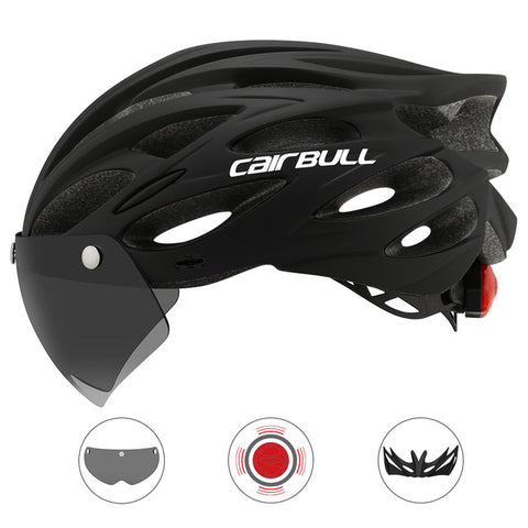 Ultralight Bicycle Helmet with Visor and integrated LED tail light