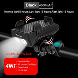 4 in 1 Bicycle Flashlight, Horn, Phone Holder & Power Bank