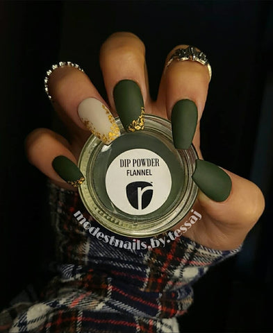 Green Flannel Fall Matte Nails | Revel Nail Dip Powder