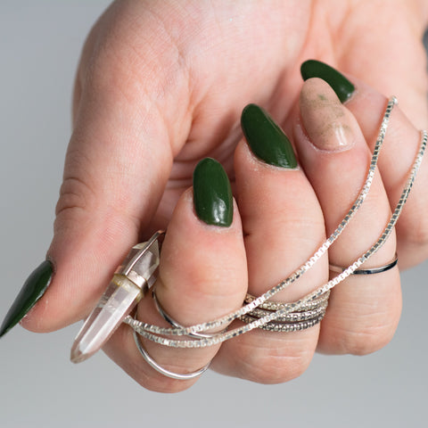 Silver jewelry with Flannel and Alter manicure.