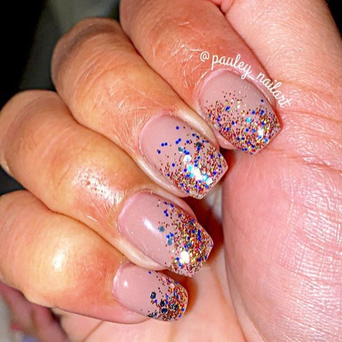 D235 Hush nude and D306 Tiara multi glitter Ombre Manicure | Revel Nail Dip Powder | Get the look