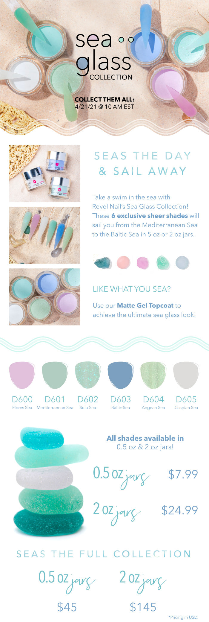 Limited Edition Sea Glass Collection | Summer Jelly Dip Powder | Translucent Jelly Nails | Revel Nail Dip Powder