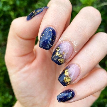 Reflect and Scarlet Glitter Ombre Dip Powder Nails | Modern muse Navy blue and pink Ombre nails | Revel Nail Dip Kit
