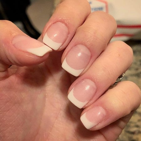 Veronica White French Tip Dip Manicure | Get the Look Celeb Manicure | Revel Nail