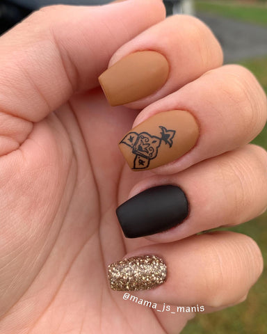 Nude Camel Matte Manicure with Glitter | Revel Nail Dip Powder