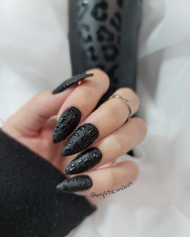 Flat Matte Black Nails Manicure | Revel Nail Dip Powder