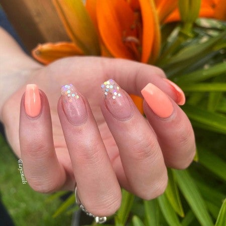 Opulent and Hola Chunky Glitter and Peach ombre Nails | Revel Nail Get the look | At home Dip powder Starter Kit