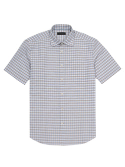 gingham check short-sleeved shirt