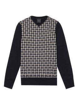 Geometric Pattern V-Neck Pullover