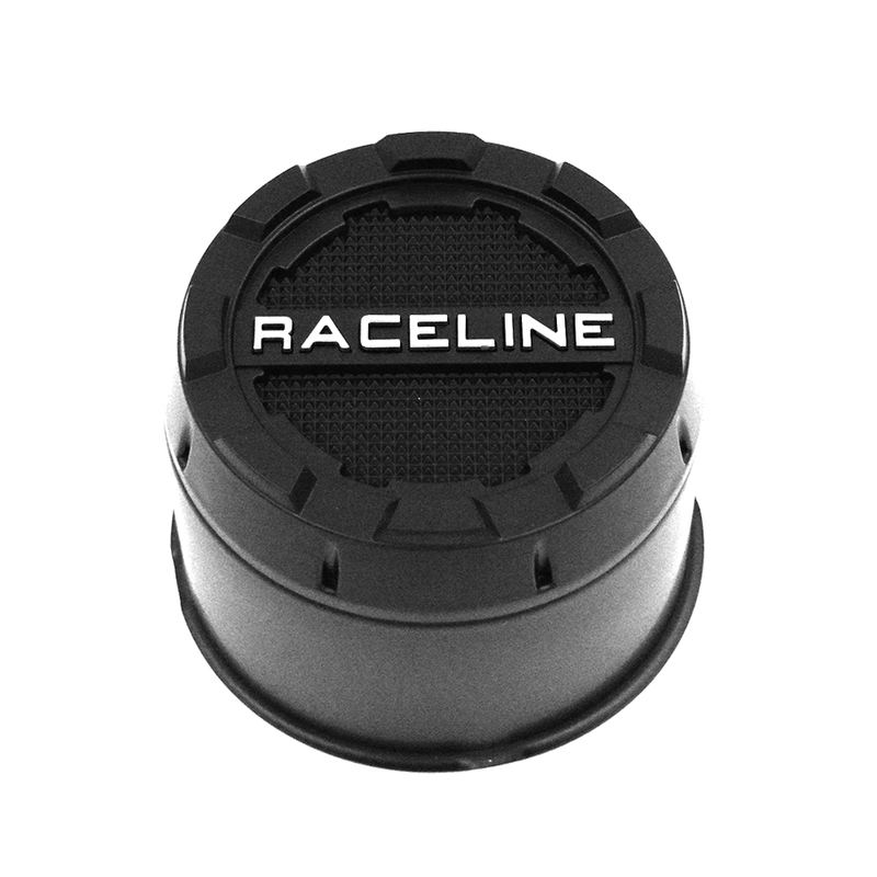 CPR-B-4250 RACELINE WHEELS 2PC PUSH THROUGH BLACK CAP 4.250 BORE (5X5.5, 6X5.5)