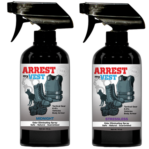 Arrest My Vest 16 oz. Stressless & Midnight Odor Eliminating Spray Bundle
