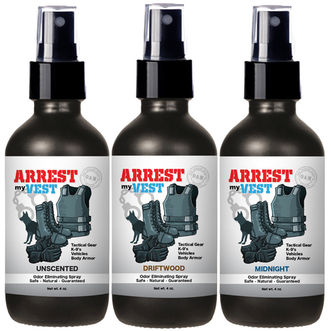 Arrest My Vest Unscented, Driftwood, and Midnight 4 oz Odor Eliminating Spray Bundle