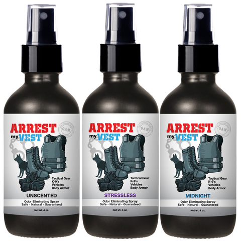 Arrest My Vest Unscented, Midnight, and Stressless 4 oz Odor Eliminating Spray Bundle