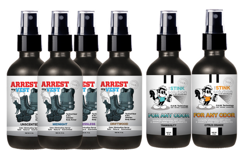 4 oz. Odor Sampler Set: 4 Odor Eliminating Sprays + TWO FREE For Any Odor Sprays