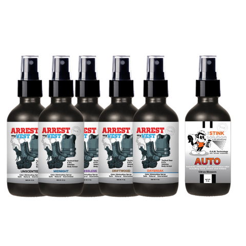 4 oz. Odor Sampler Set: 5 Odor Eliminating Sprays + 1 The Stink Solution Auto Citrus Blossom