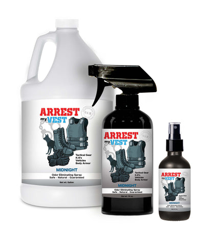 Arrest My Vest Midnight 16 oz, 4, oz, and Gallon Odor Eliminating Spray Bundle