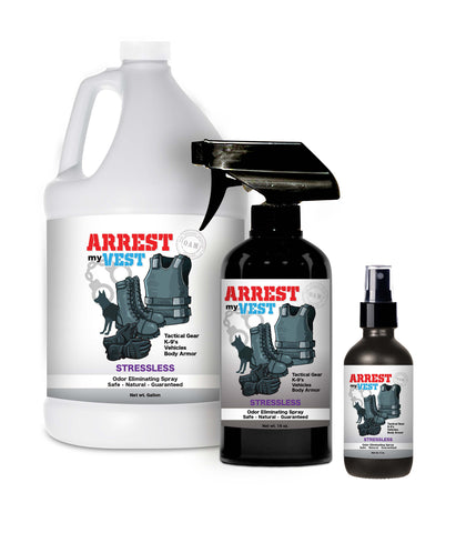 Arrest My Vest Stressless 16 oz, 4, oz, and Gallon Odor Eliminating Spray Bundle