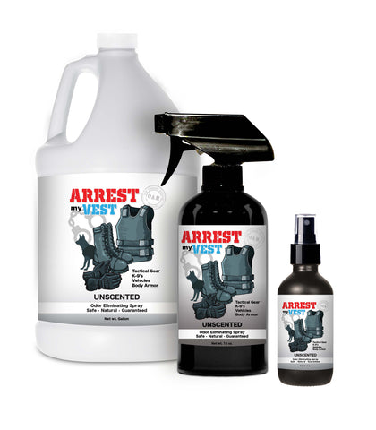 Arrest My Vest Unscented 16 oz, 4, oz, and Gallon Odor Eliminating Spray Bundle