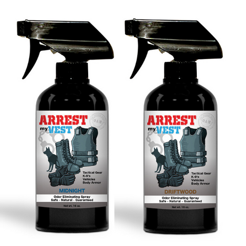 Arrest My Vest 16 oz. Driftwood & Midnight Odor Eliminating Spray Bundle