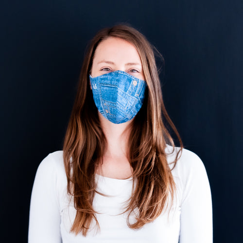 Maske im Jeans-Look, doppellagig | Couture Shop