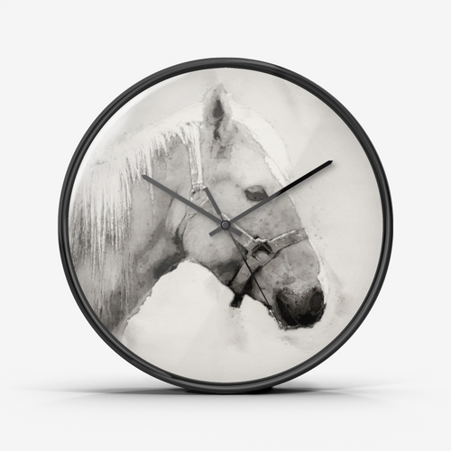 Horse Black and White Watercolor Wall Clock