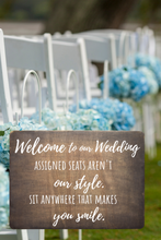 Load image into Gallery viewer, Assigned Seats Aren't our Style Ceremony Sign,concinnity-crafts,Wood Sign,Concinnity Crafts