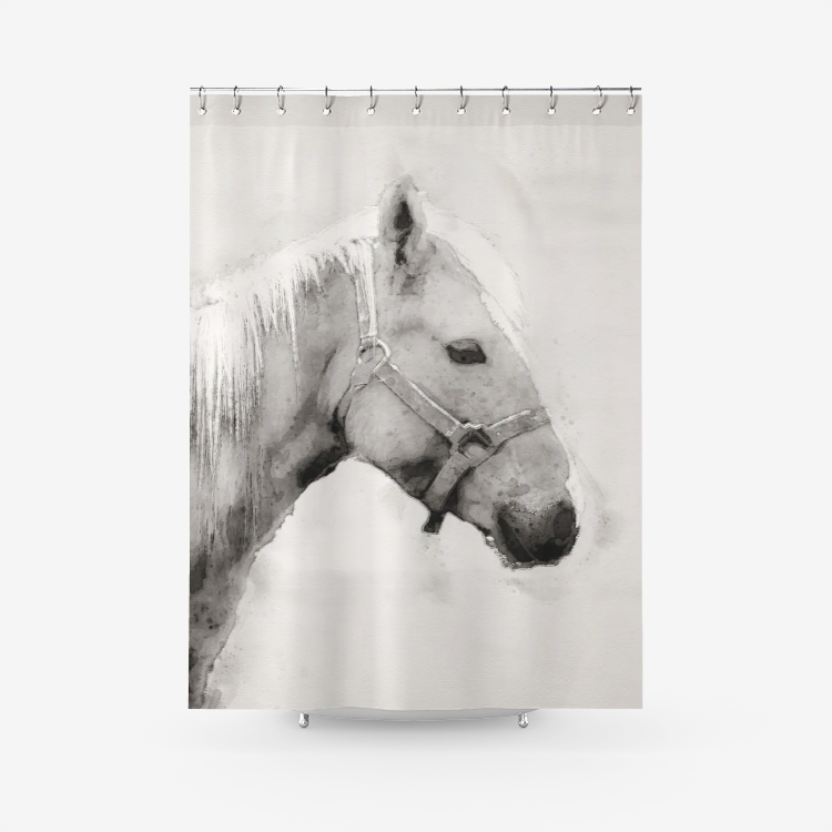 Horse Black and White Watercolor Shower Curtain