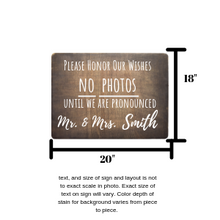 Load image into Gallery viewer, Personalized No Photos Wedding Ceremony Sign,concinnity-crafts,,Concinnity Crafts
