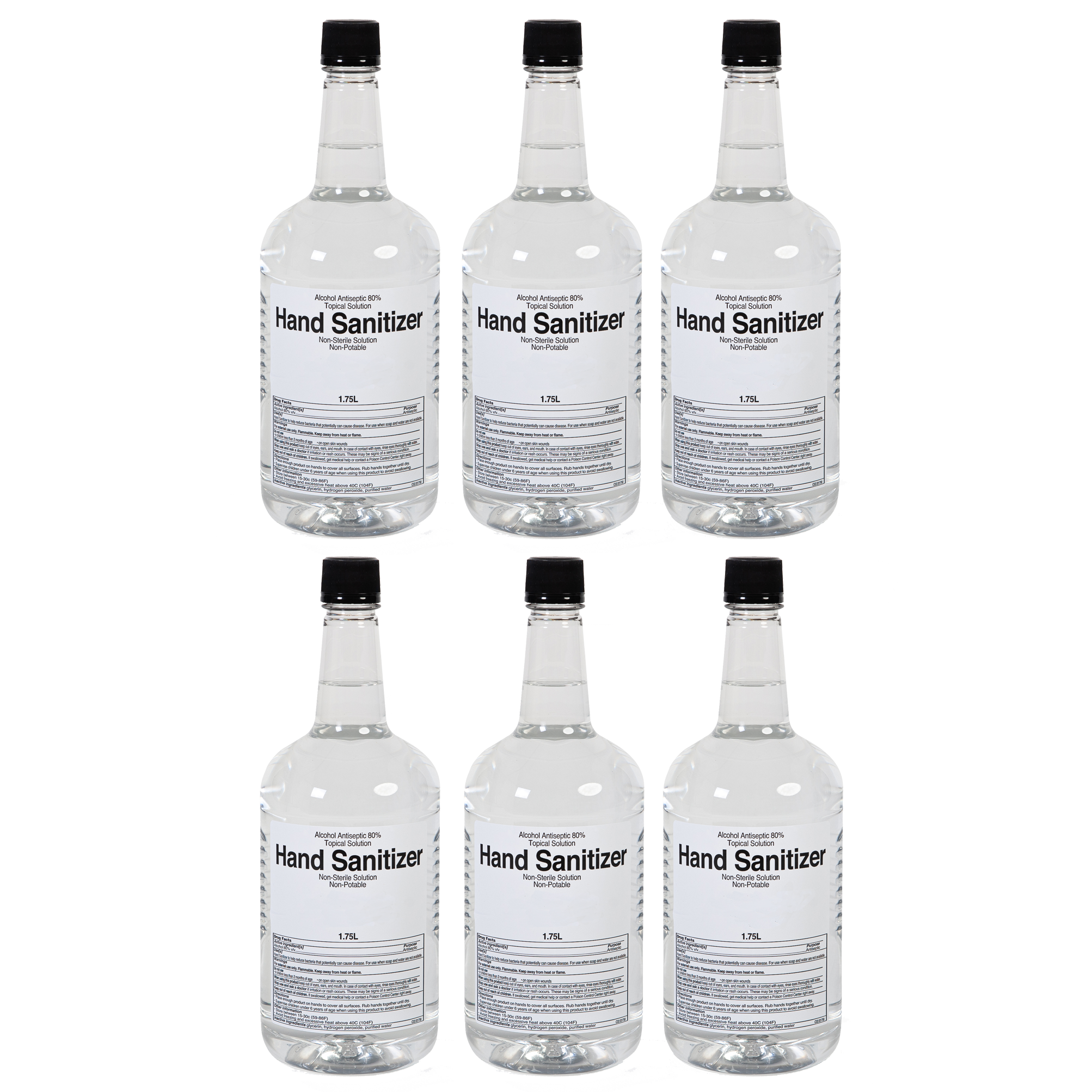 Case of 6 Bottles of Sazerac Company Hand Sanitizer with 2 Pumps.  The bottles are 1.75 Liters (59 oz) Each