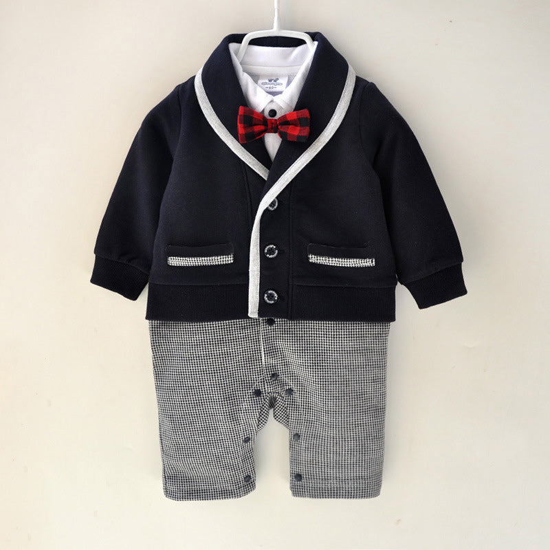 Baby Boys Fake 2pcs Plaid Collar Bow Tie Romper