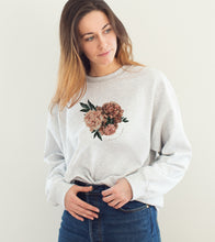 """Upload image to gallery, Gray crewneck """"Surrounded by love"""""""