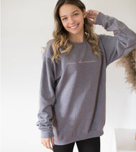 """Upload image to gallery, Gray crewneck """"Douce Humaine"""""""