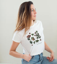 """Upload Image to Gallery, White """"Beauty Cultivated"""" Fitted T-Shirt"""