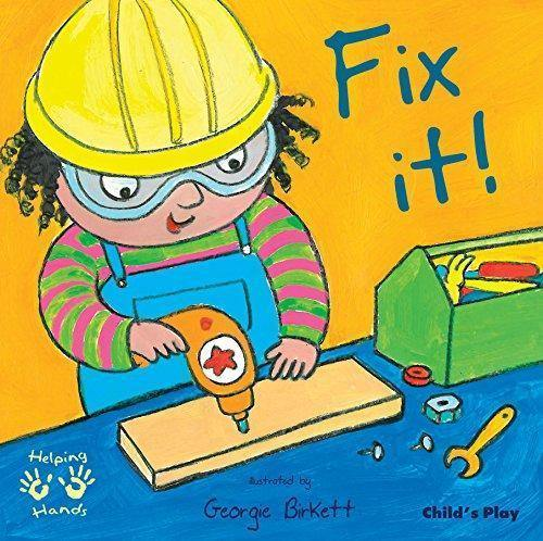 Fix it black childrens book, boy holding drill with yellow helmet and protective visors with a green box of tools